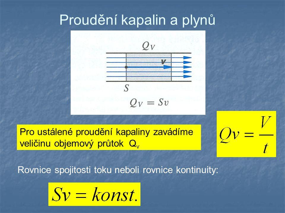 Proudění kapalin a plynů Pro ustálené proudění kapaliny zavádíme veličinu objemový průtok Q v Rovnice spojitosti toku neboli rovnice kontinuity: