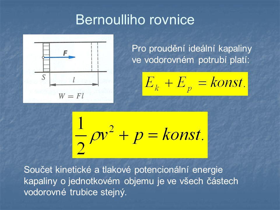 Bernoulliho rovnice Pro proudění ideální kapaliny ve vodorovném potrubí platí: Součet kinetické a tlakové potencionální energie kapaliny o jednotkovém