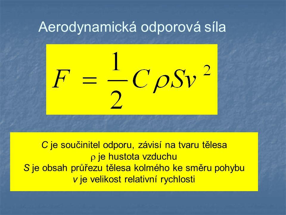 Aerodynamická odporová síla C je součinitel odporu, závisí na tvaru tělesa  je hustota vzduchu S je obsah průřezu tělesa kolmého ke směru pohybu v je
