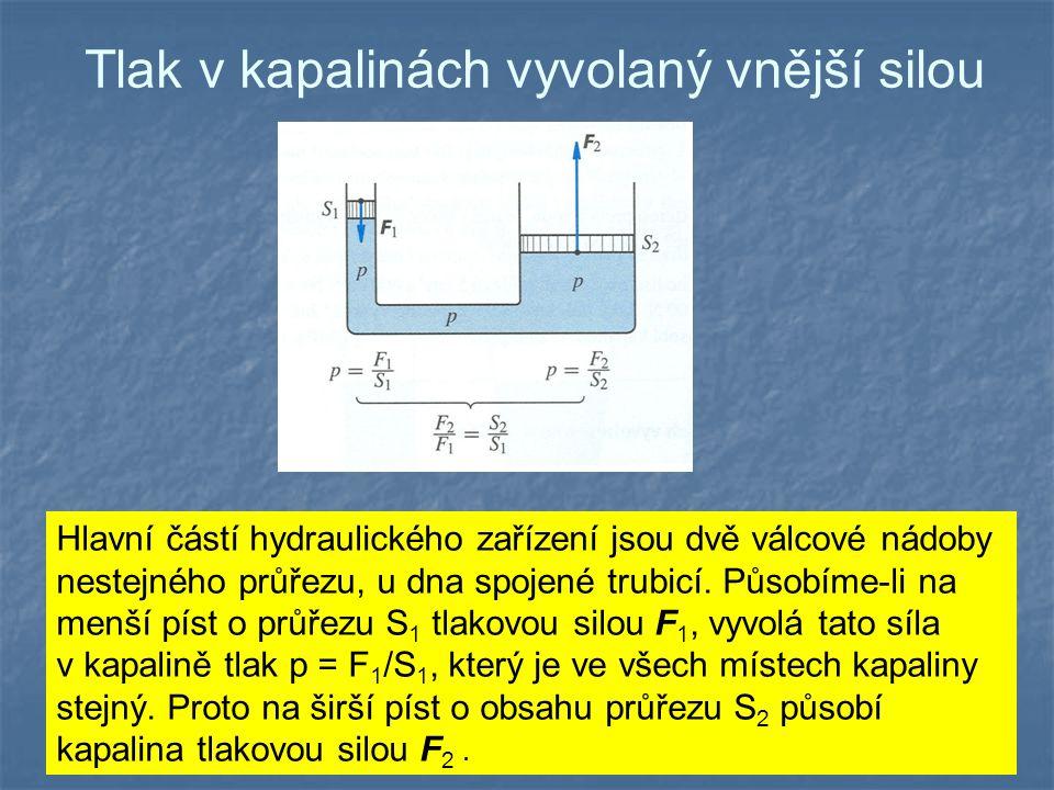 Tlak v kapalinách vyvolaný vnější silou Hlavní částí hydraulického zařízení jsou dvě válcové nádoby nestejného průřezu, u dna spojené trubicí. Působím