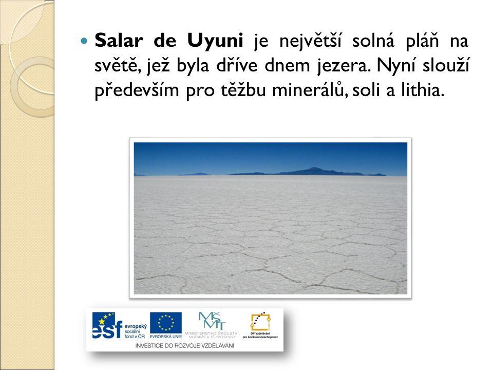 Salar de Uyuni je největší solná pláň na světě, jež byla dříve dnem jezera. Nyní slouží především pro těžbu minerálů, soli a lithia.