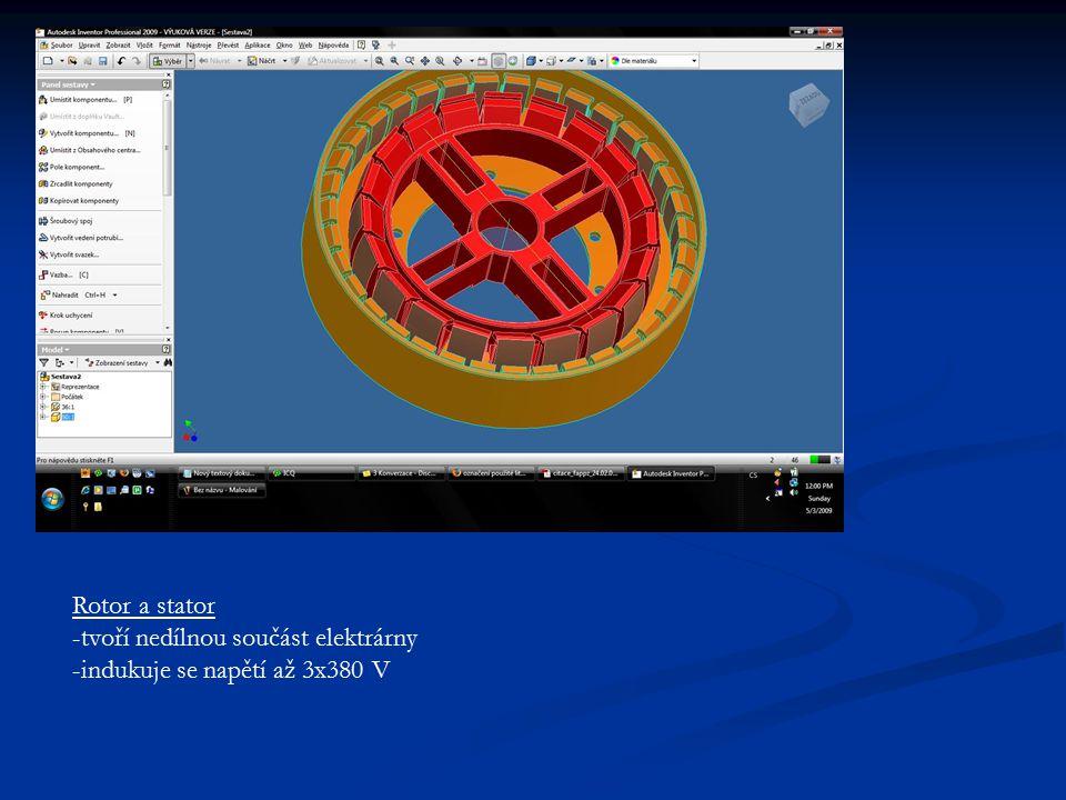 Rotor a stator -tvoří nedílnou součást elektrárny -indukuje se napětí až 3x380 V