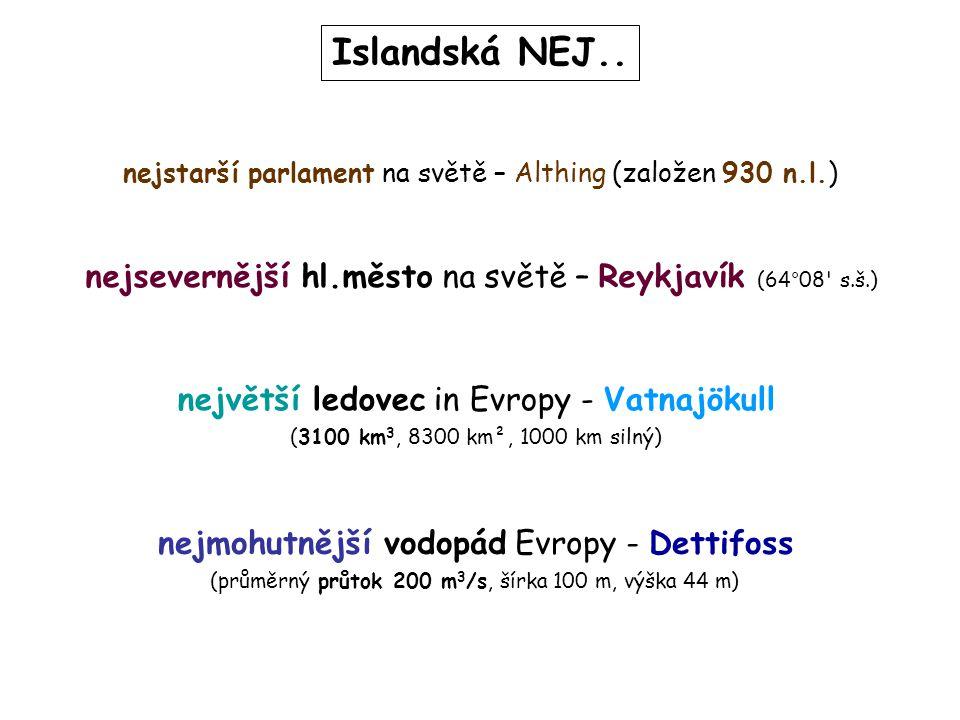 Islandská NEJ.. největší ledovec in Evropy - Vatnajökull (3100 km 3, 8300 km², 1000 km silný) nejmohutnější vodopád Evropy - Dettifoss (průměrný průto