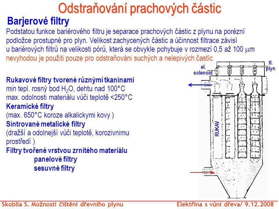 Odstraňování prachových částic Skoblia S. Možnosti čištění dřevního plynu Elektřina s vůní dřeva/ 9.12.2008 Barjerové filtry Rukavové filtry tvorené r