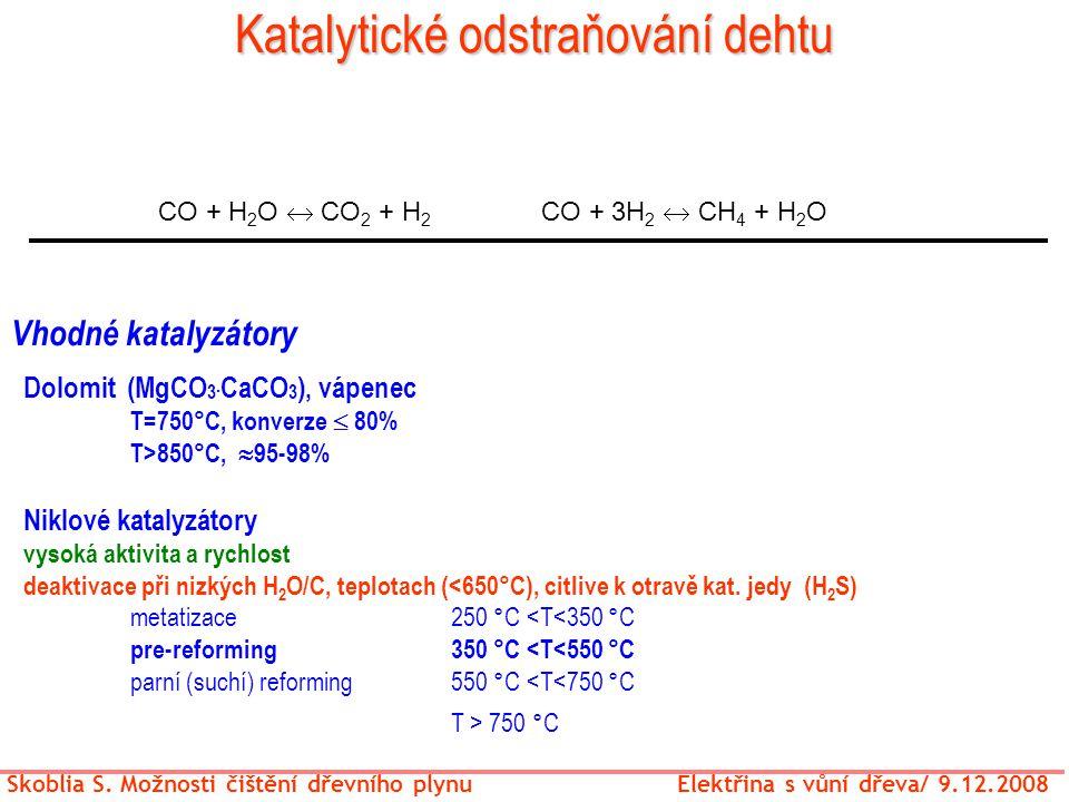Katalytické odstraňování dehtu CO + H 2 O  CO 2 + H 2 CO + 3H 2  CH 4 + H 2 O Vhodné katalyzátory Skoblia S. Možnosti čištění dřevního plynu Elektři