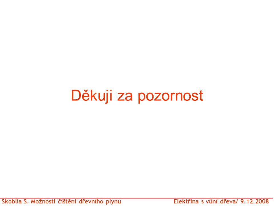 Děkuji za pozornost Skoblia S. Možnosti čištění dřevního plynu Elektřina s vůní dřeva/ 9.12.2008