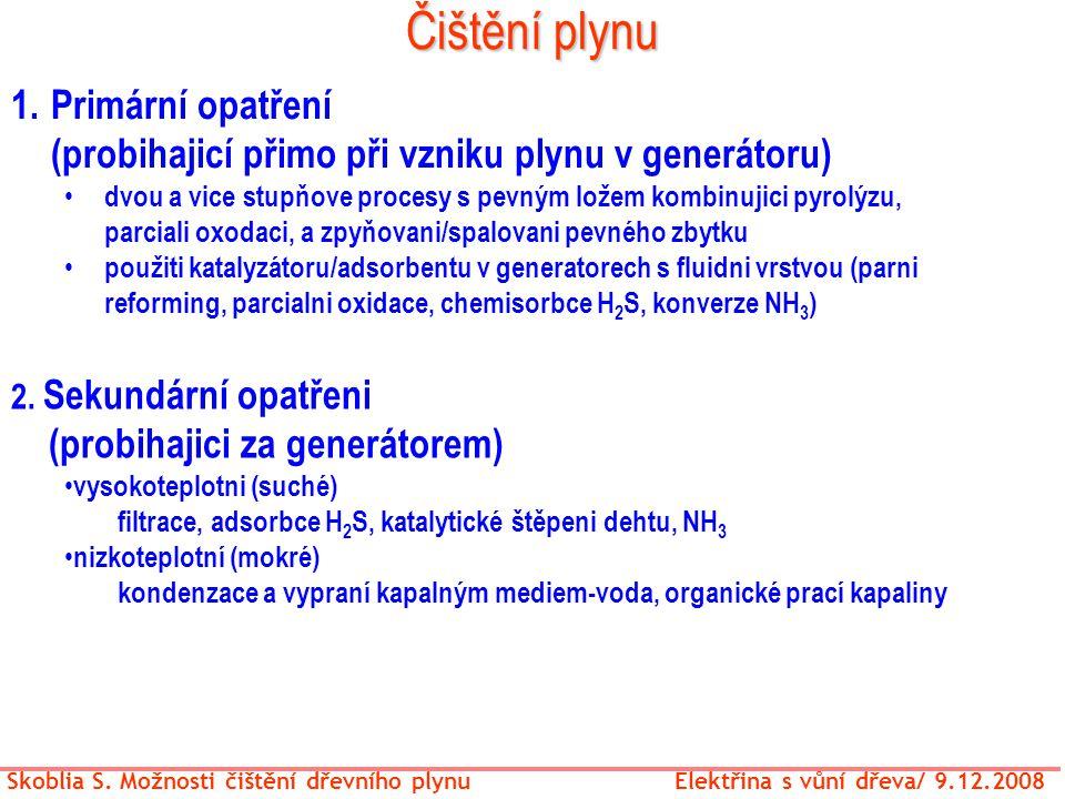 Čištění plynu Skoblia S. Možnosti čištění dřevního plynu Elektřina s vůní dřeva/ 9.12.2008 1.Primární opatření (probihajicí přimo při vzniku plynu v g