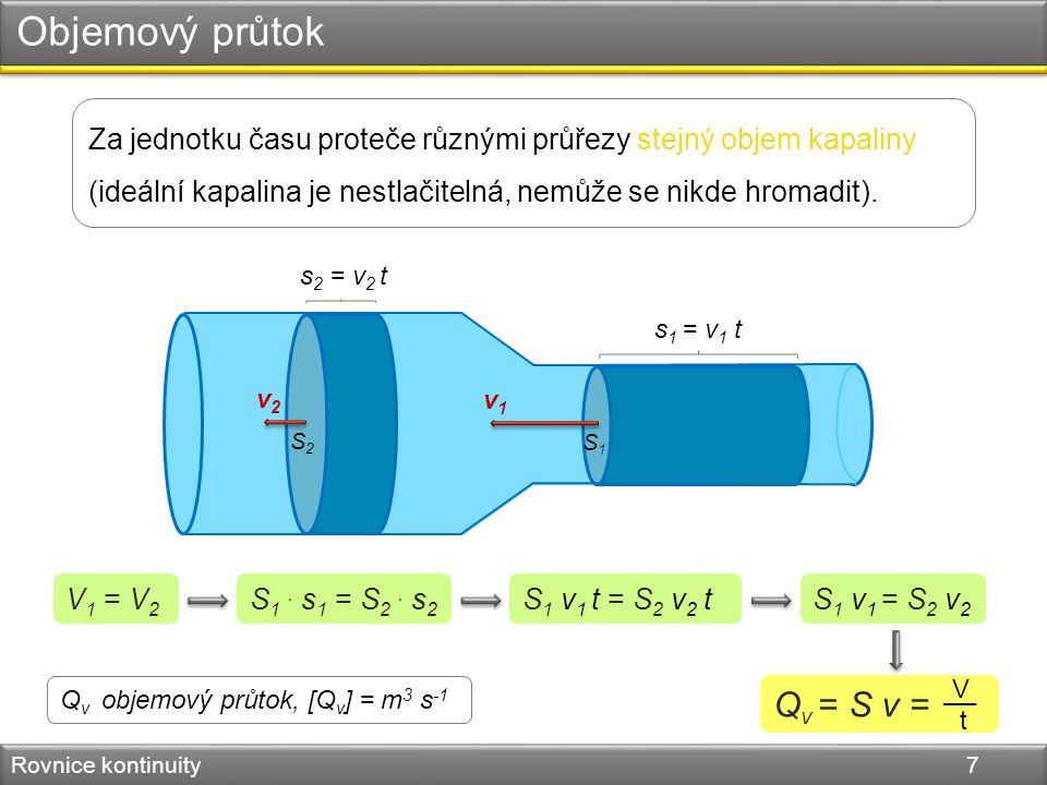 Objemový průtok Rovnice kontinuity 7 Za jednotku času proteče různými průřezy stejný objem kapaliny (ideální kapalina je nestlačitelná, nemůže se nikde hromadit).