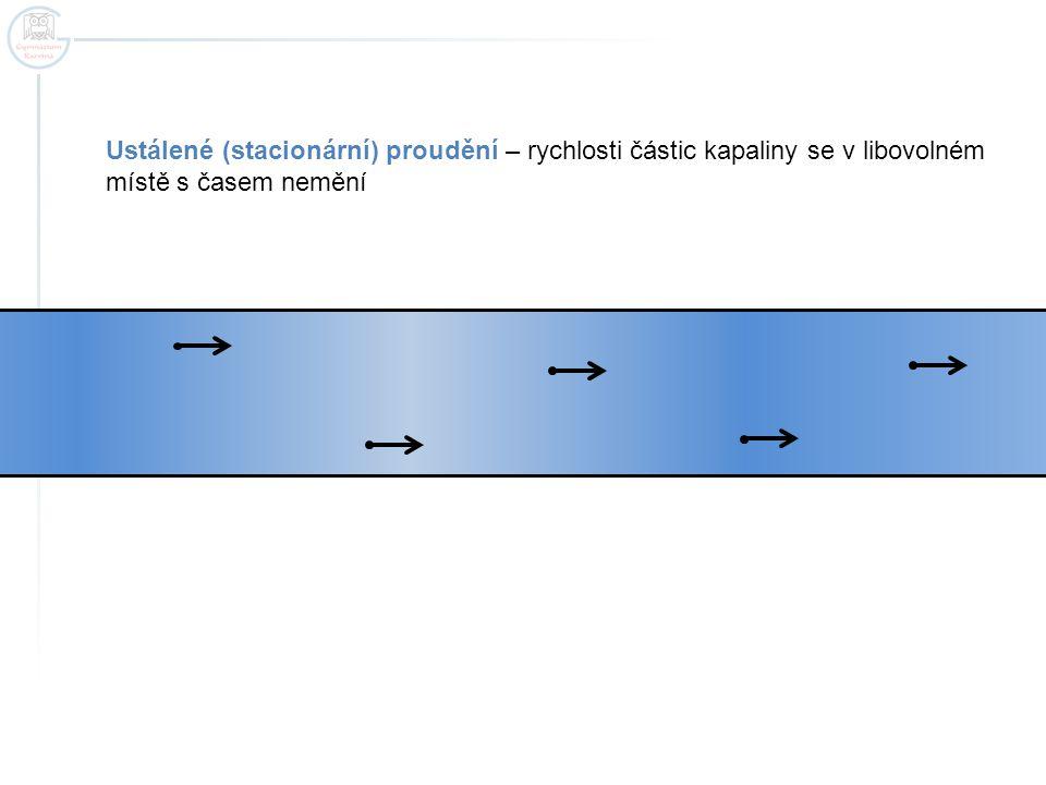 Ustálené (stacionární) proudění – rychlosti částic kapaliny se v libovolném místě s časem nemění