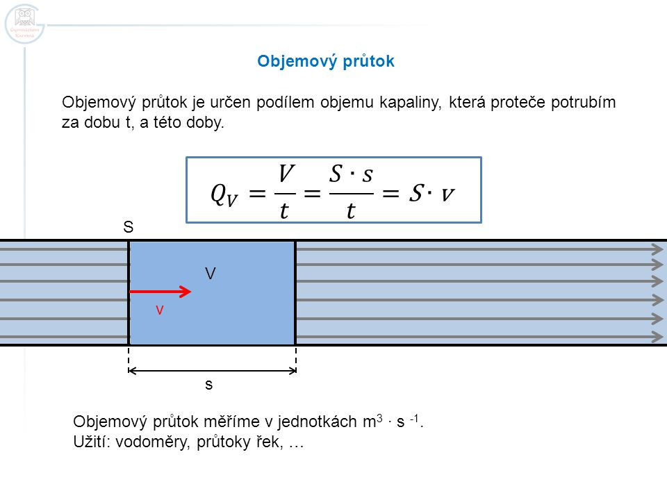 Objemový průtok Objemový průtok je určen podílem objemu kapaliny, která proteče potrubím za dobu t, a této doby. v S s V Objemový průtok měříme v jedn