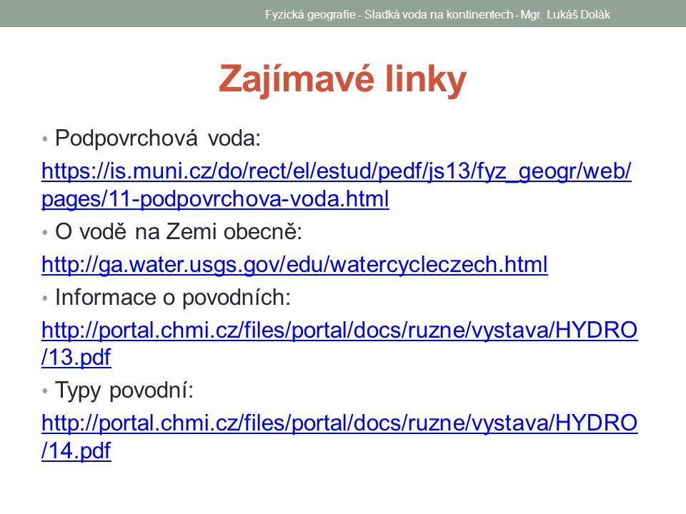 Zajímavé linky Podpovrchová voda: https://is.muni.cz/do/rect/el/estud/pedf/js13/fyz_geogr/web/ pages/11-podpovrchova-voda.html O vodě na Zemi obecně: