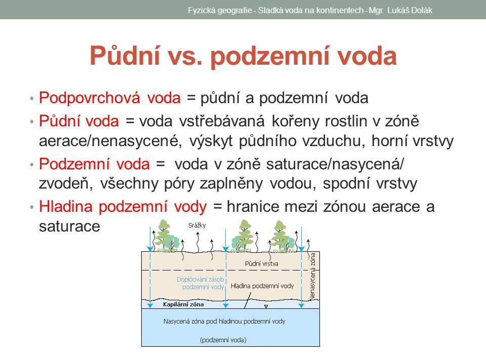 Půdní vs. podzemní voda Podpovrchová voda = půdní a podzemní voda Půdní voda = voda vstřebávaná kořeny rostlin v zóně aerace/nenasycené, výskyt půdníh