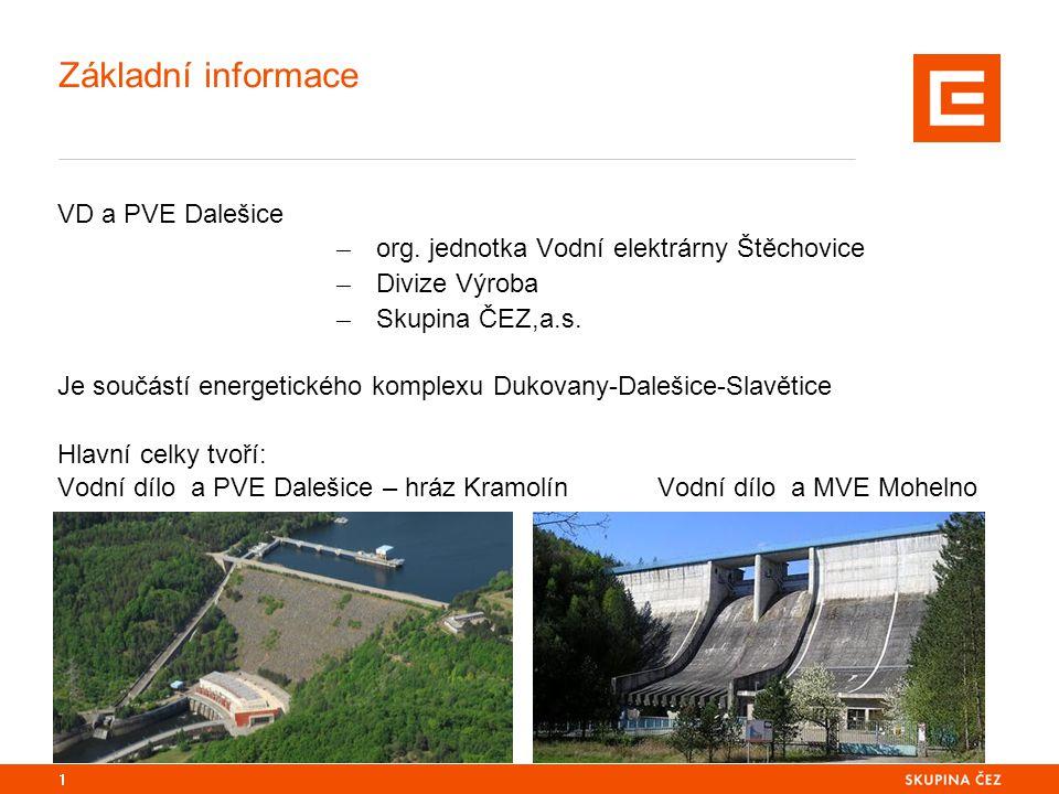 Základní informace VD a PVE Dalešice ─ org. jednotka Vodní elektrárny Štěchovice ─ Divize Výroba ─ Skupina ČEZ,a.s. Je součástí energetického komplexu