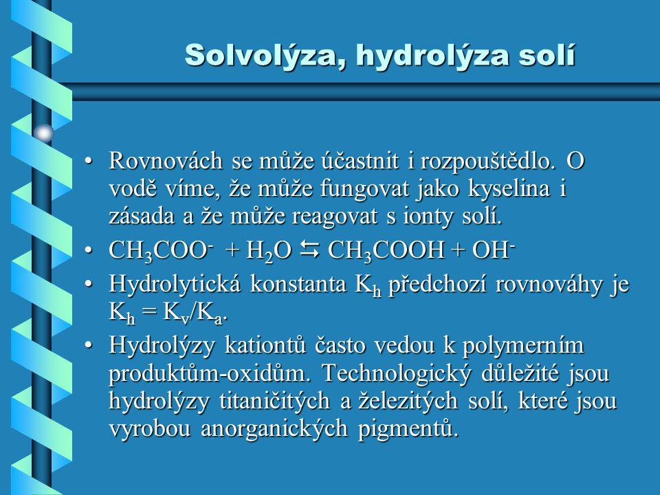 Solvolýza, hydrolýza solí Rovnovách se může účastnit i rozpouštědlo. O vodě víme, že může fungovat jako kyselina i zásada a že může reagovat s ionty s