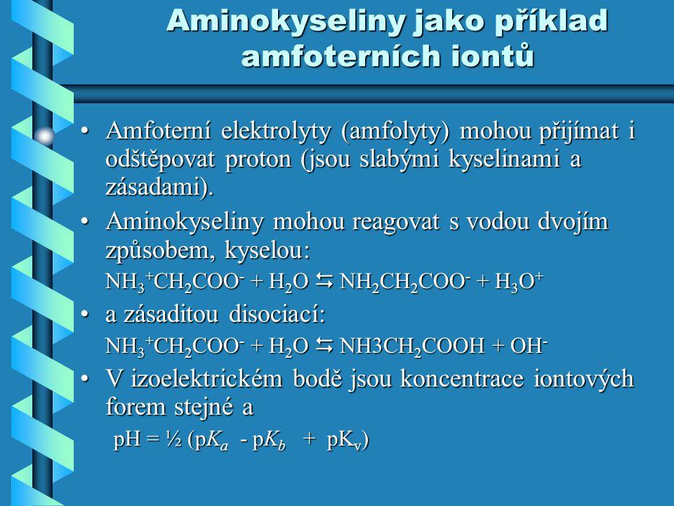 Aminokyseliny jako příklad amfoterních iontů Amfoterní elektrolyty (amfolyty) mohou přijímat i odštěpovat proton (jsou slabými kyselinami a zásadami).