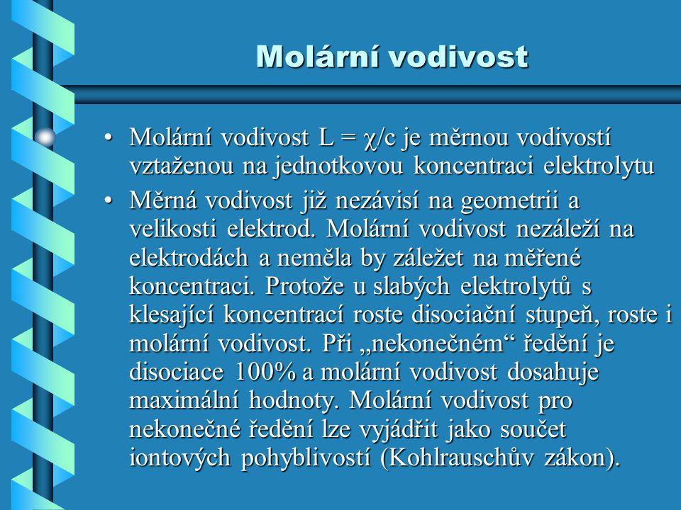 Molární vodivost Molární vodivost L =  /c je měrnou vodivostí vztaženou na jednotkovou koncentraci elektrolytuMolární vodivost L =  /c je měrnou vod