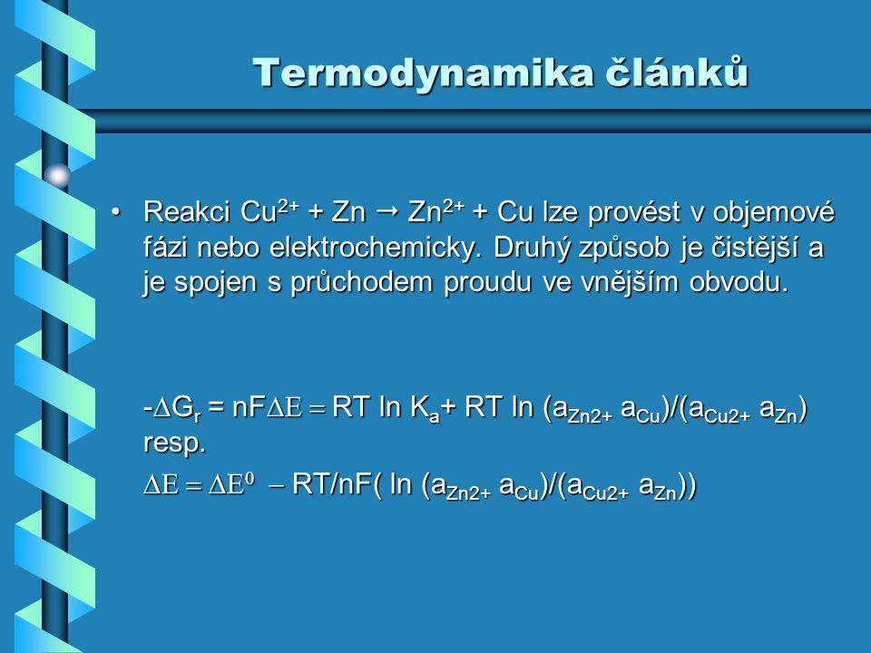 Termodynamika článků Reakci Cu 2+ + Zn  Zn 2+ + Cu lze provést v objemové fázi nebo elektrochemicky. Druhý způsob je čistější a je spojen s průchodem