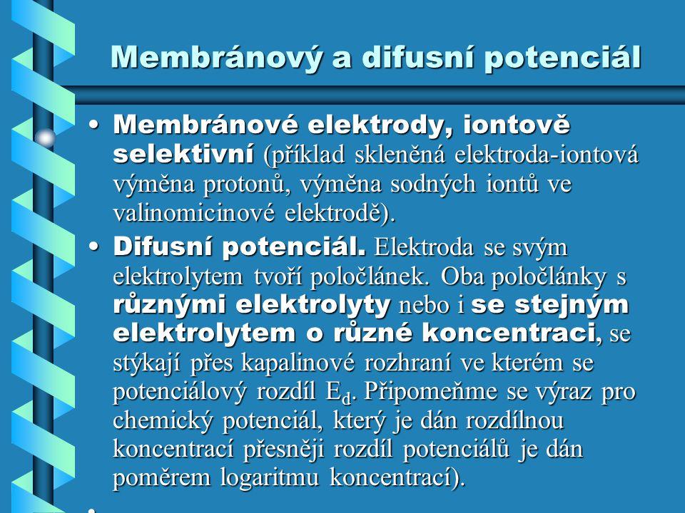 Membránový a difusní potenciál Membránové elektrody, iontově selektivní (příklad skleněná elektroda-iontová výměna protonů, výměna sodných iontů ve va