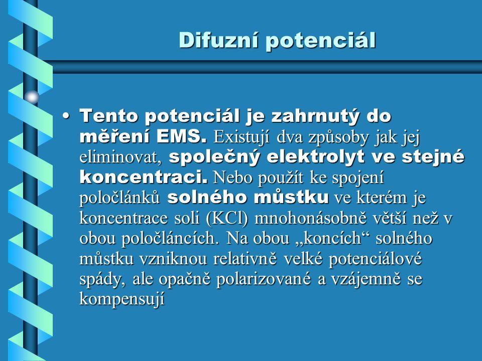 Difuzní potenciál Tento potenciál je zahrnutý do měření EMS. Existují dva způsoby jak jej eliminovat, společný elektrolyt ve stejné koncentraci. Nebo