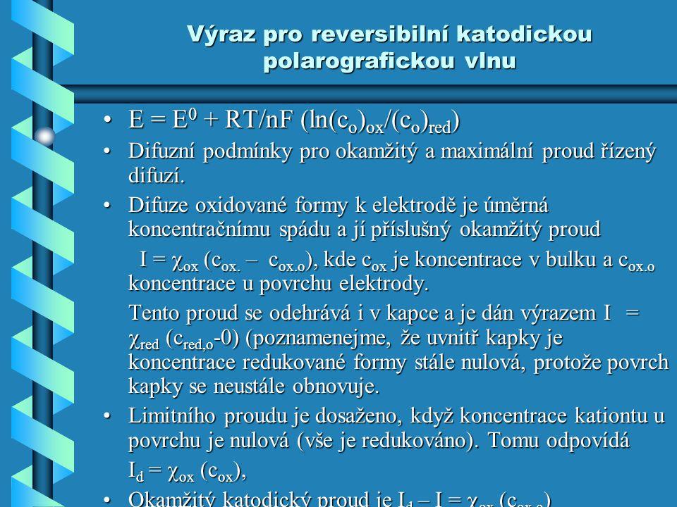 Výraz pro reversibilní katodickou polarografickou vlnu E = E 0 + RT/nF (ln(c o ) ox /(c o ) red )E = E 0 + RT/nF (ln(c o ) ox /(c o ) red ) Difuzní po
