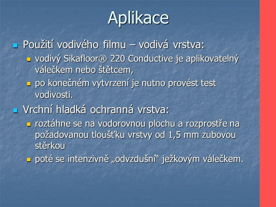 Aplikace Použití vodivého filmu – vodivá vrstva: Použití vodivého filmu – vodivá vrstva: vodivý Sikafloor® 220 Conductive je aplikovatelný válečkem ne