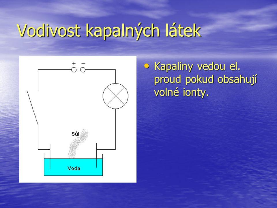 Vodivost kapalných látek Kapaliny vedou el.proud pokud obsahují volné ionty.