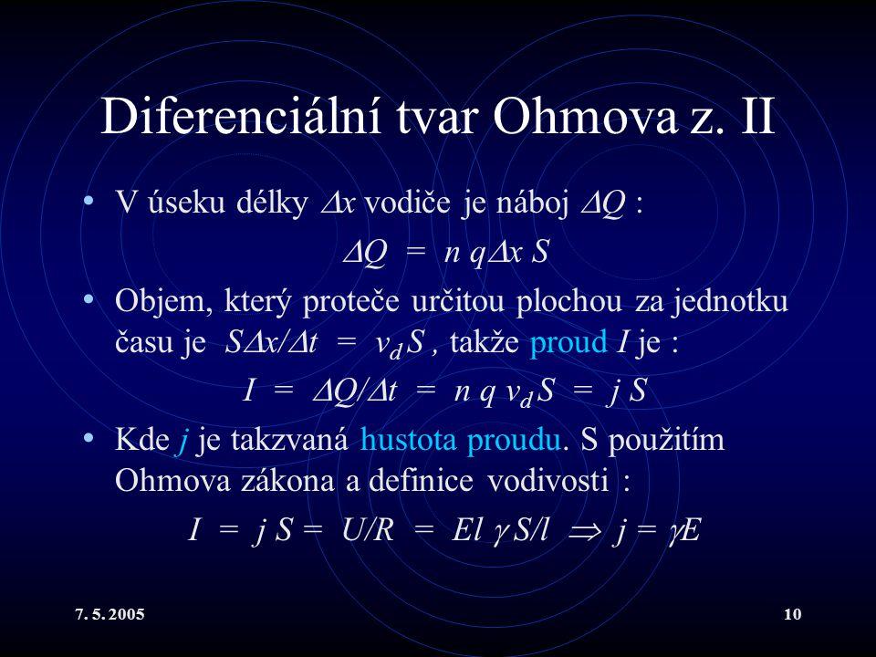 7. 5. 200510 Diferenciální tvar Ohmova z. II V úseku délky  x vodiče je náboj  Q :  Q = n q  x S Objem, který proteče určitou plochou za jednotku
