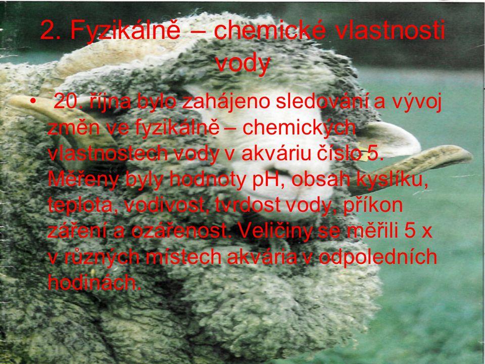 2.Fyzikálně – chemické vlastnosti vody Při zahájení měření (20.