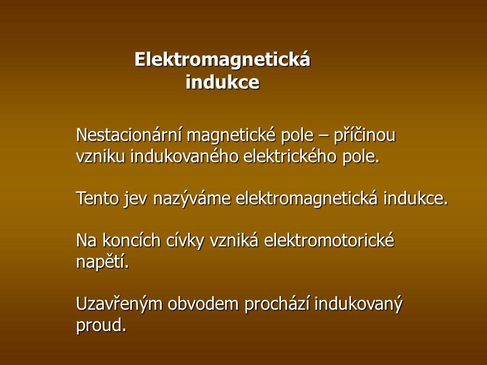Elektromagnetická indukce Nestacionární magnetické pole – příčinou vzniku indukovaného elektrického pole.