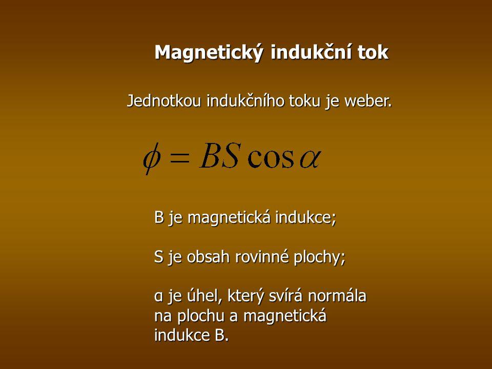 Magnetický indukční tok B je magnetická indukce; S je obsah rovinné plochy; α je úhel, který svírá normála na plochu a magnetická indukce B.