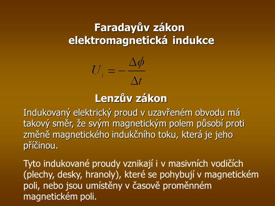 Faradayův zákon elektromagnetická indukce Lenzův zákon Indukovaný elektrický proud v uzavřeném obvodu má takový směr, že svým magnetickým polem působí proti změně magnetického indukčního toku, která je jeho příčinou.