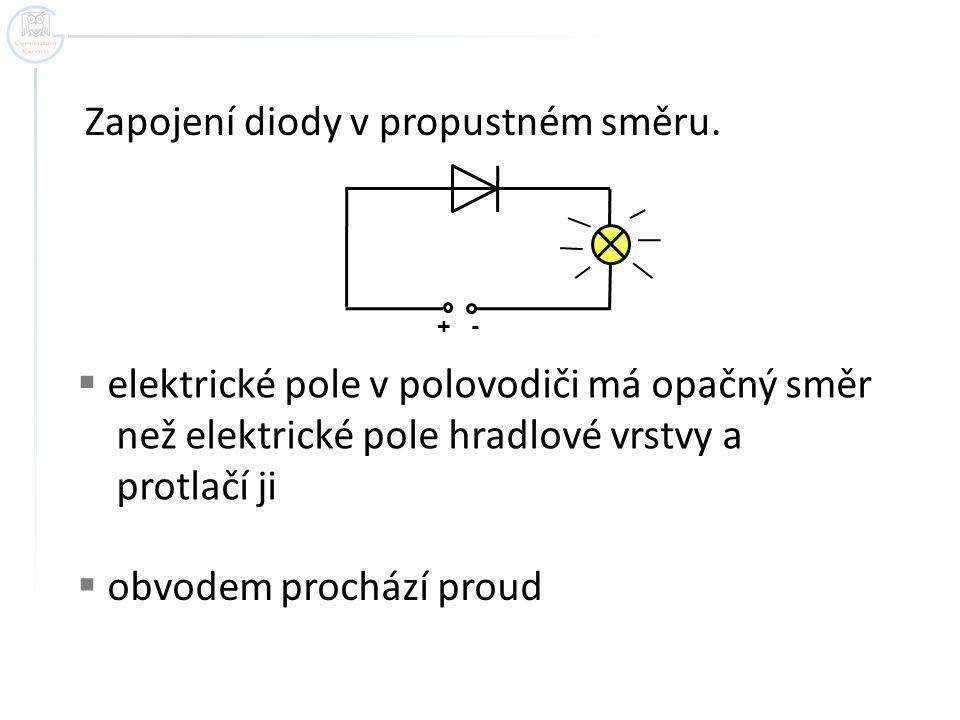 Zapojení diody v propustném směru. + -  elektrické pole v polovodiči má opačný směr než elektrické pole hradlové vrstvy a protlačí ji  obvodem proch
