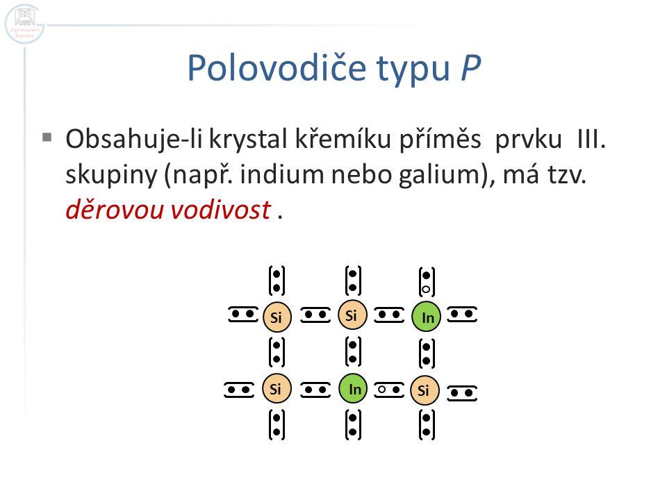 Polovodiče typu P  Obsahuje-li krystal křemíku příměs prvku III. skupiny (např. indium nebo galium), má tzv. děrovou vodivost. Si In