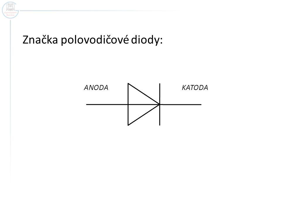 Značka polovodičové diody: ANODA KATODA