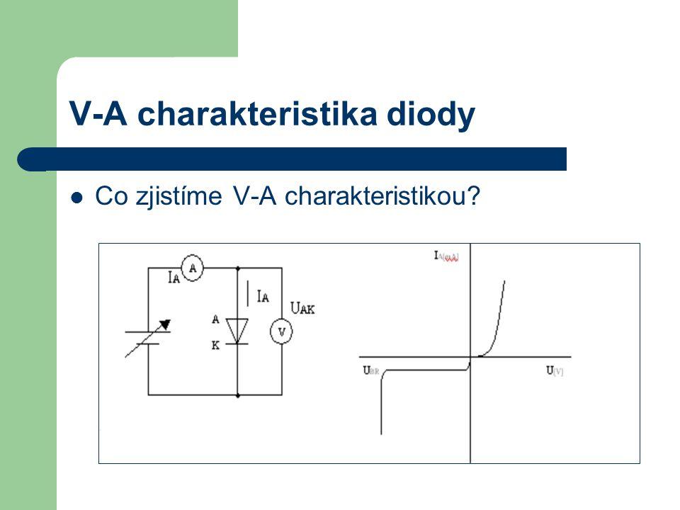 V-A charakteristika diody Co zjistíme V-A charakteristikou?