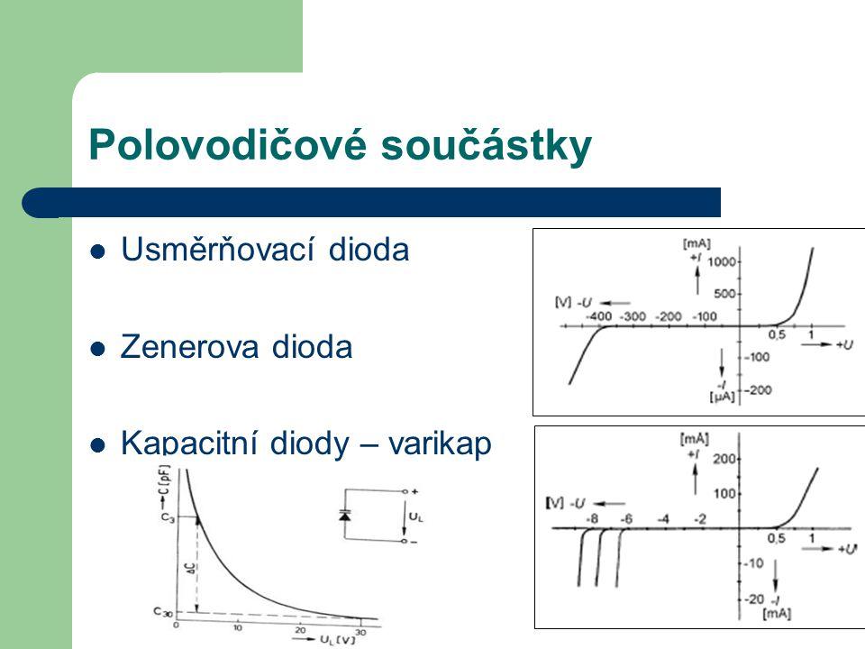 Polovodičové součástky Usměrňovací dioda Zenerova dioda Kapacitní diody – varikap