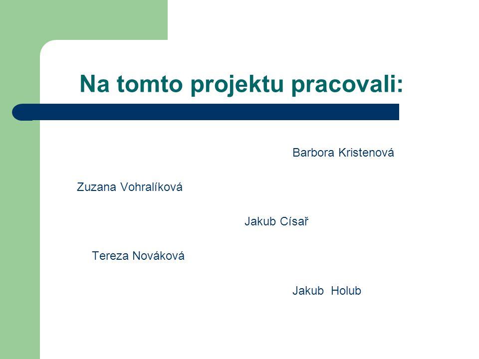 Na tomto projektu pracovali: Barbora Kristenová Zuzana Vohralíková Jakub Císař Tereza Nováková Jakub Holub