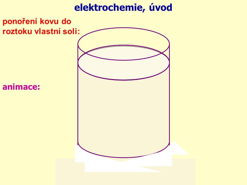 elektrochemie, úvod ponoření kovu do roztoku vlastní soli: animace: