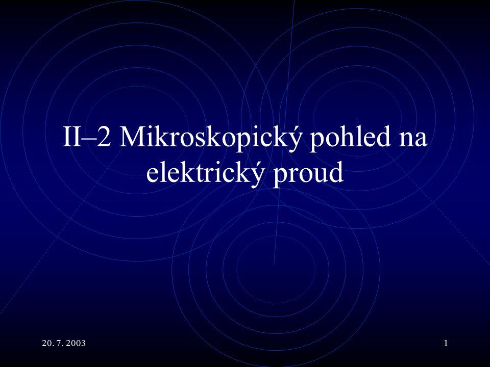 20. 7. 20031 II–2 Mikroskopický pohled na elektrický proud