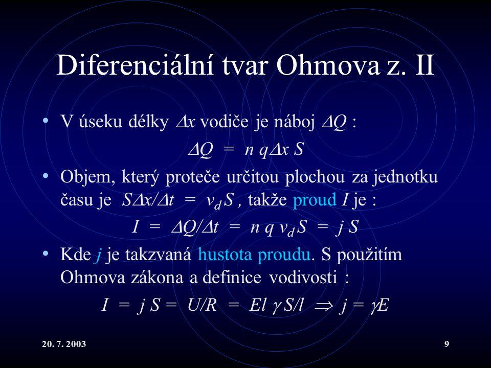 20.7. 200310 Diferenciální tvar Ohmova z. III j =  E To je Ohmův zákon v diferenciálním tvaru.