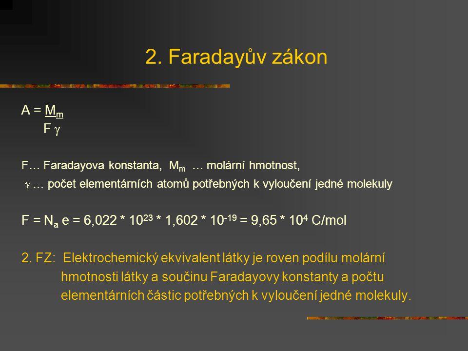 2. Faradayův zákon A = M m F  F… Faradayova konstanta, M m … molární hmotnost,  … počet elementárních atomů potřebných k vyloučení jedné molekuly F