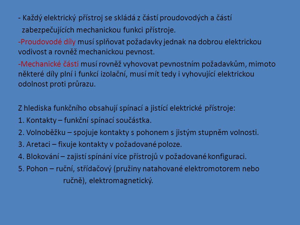 - Každý elektrický přístroj se skládá z částí proudovodých a částí zabezpečujících mechanickou funkci přístroje.