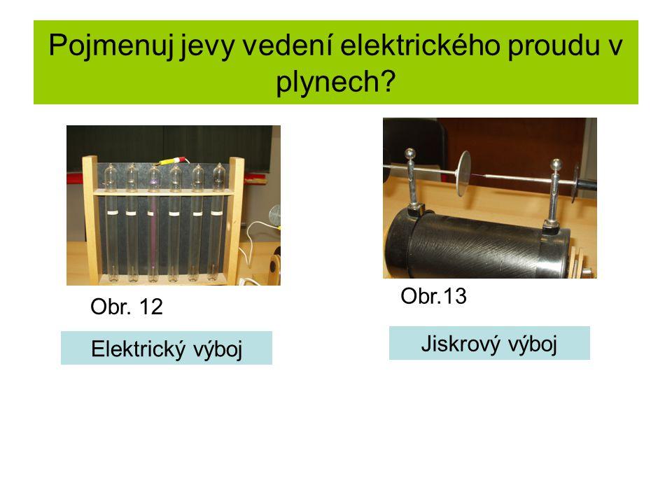 Pojmenuj jevy vedení elektrického proudu v plynech Elektrický výboj Jiskrový výboj Obr. 12 Obr.13