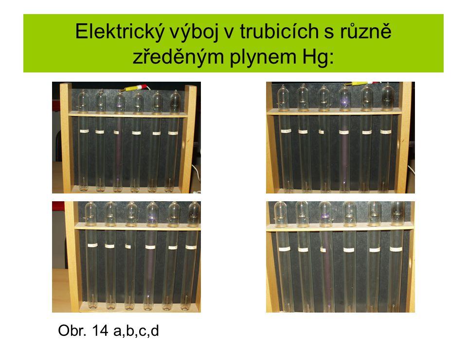 Elektrický výboj v trubicích s různě zředěným plynem Hg: Obr. 14 a,b,c,d