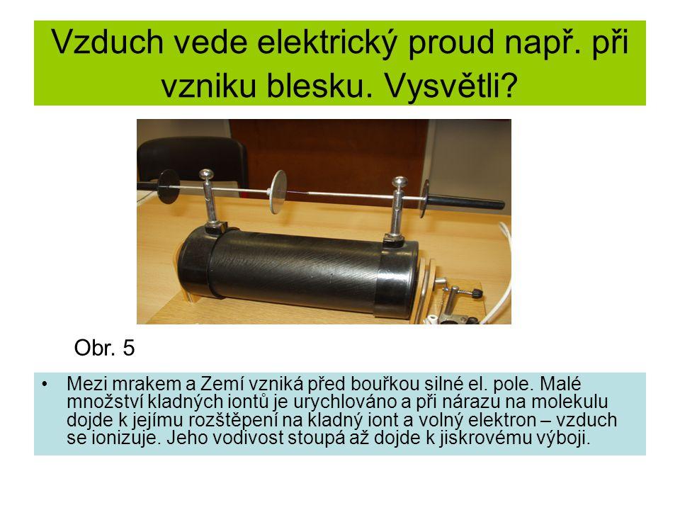 Vzduch vede elektrický proud např. při vzniku blesku.