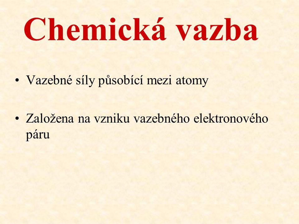 Chemická vazba Vazebné síly působící mezi atomy Založena na vzniku vazebného elektronového páru