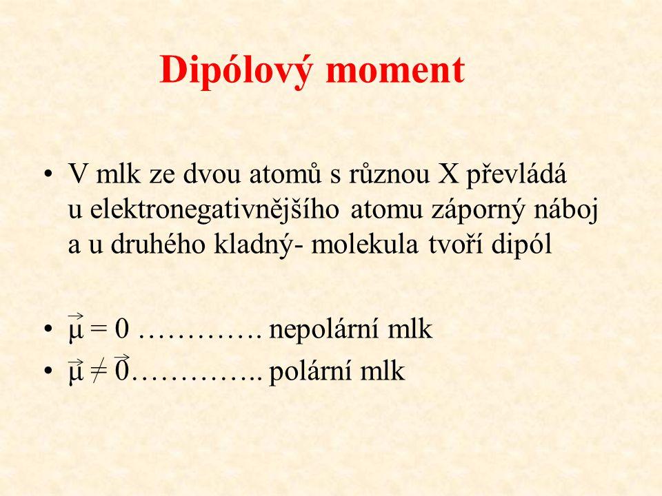 Dipólový moment V mlk ze dvou atomů s různou X převládá u elektronegativnějšího atomu záporný náboj a u druhého kladný- molekula tvoří dipól μ = 0 ………