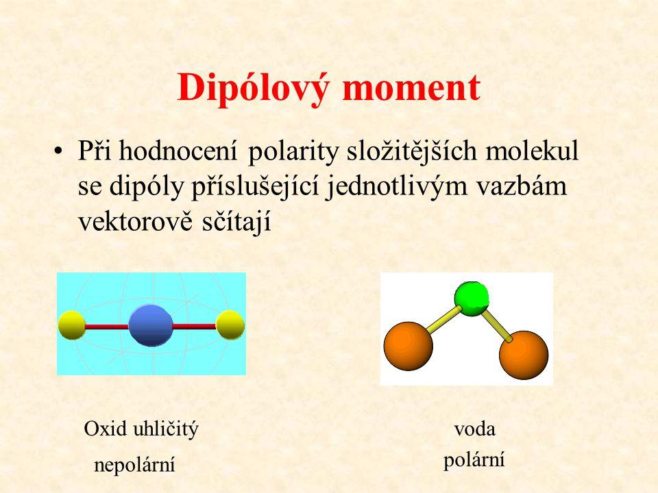 Dipólový moment Při hodnocení polarity složitějších molekul se dipóly příslušející jednotlivým vazbám vektorově sčítají Oxid uhličitývoda nepolární po