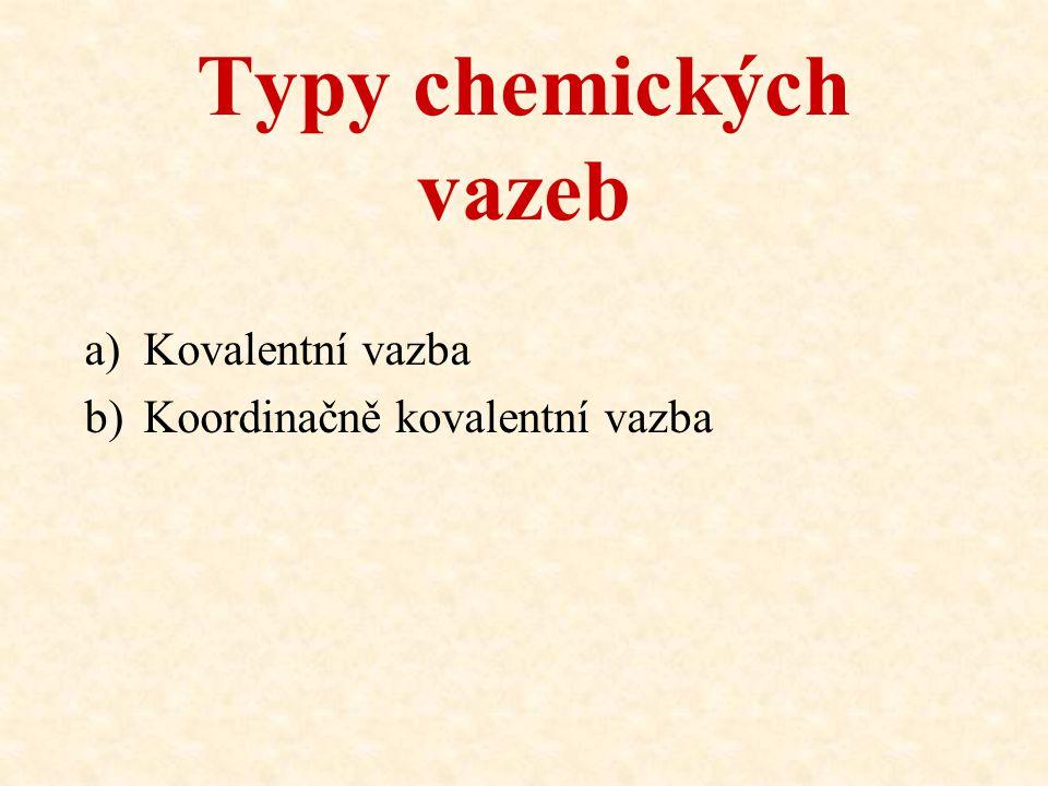 Typy chemických vazeb a)Kovalentní vazba b)Koordinačně kovalentní vazba