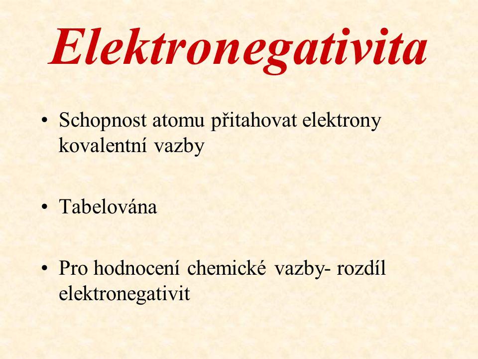 Elektronegativita Schopnost atomu přitahovat elektrony kovalentní vazby Tabelována Pro hodnocení chemické vazby- rozdíl elektronegativit